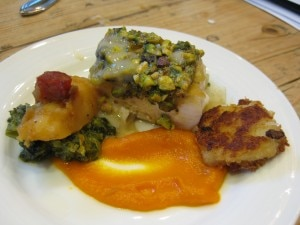 Geoffrey Lanez, pan fried halibut with pistachio crust