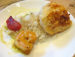 Helen Hayes - Thai inspired halibut with sautéed shrimp & coconut rice