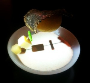 Hot potato at Alinea restaurant in Chicago
