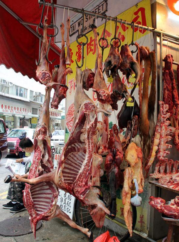 Exotic meats at the Wan Chai Market in Hong Kong