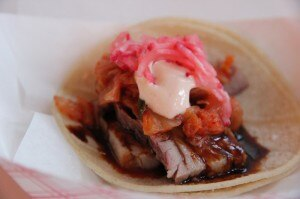 Cyrus' sous vide pork belly tacos