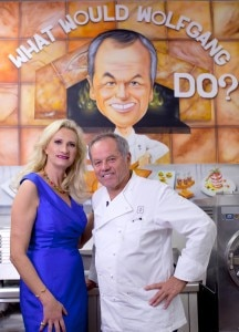 Chef Wolfgang Puck with Sophie Gayot