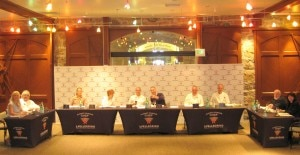 The judges (from left to right): Sophie Gayot, Jean Joho, Susur Lee, Jody Adams, Eric Ripert, Adam Rapoport, Tony Mantuano, Gary Danko, Michel Richard and Lucy Waverman