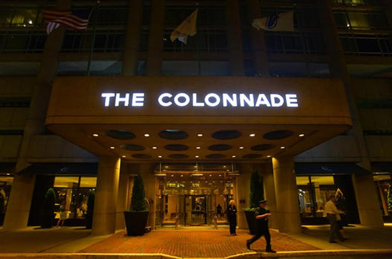 The entrance of The Colonnade Hotel in Boston