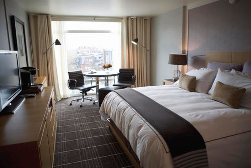 A guest room at The Colonnade Hotel in Boston