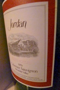 A bottle of Jordan 1979 Cabernet Sauvignon