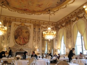The dining room of Le Meurice restaurant in Paris