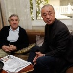 Actor Robert De Niro and chef Nobu Matsuhisa meet to discuss room designs for the world's first Nobu Hotel Restaurant and Lounge at Caesars Palace