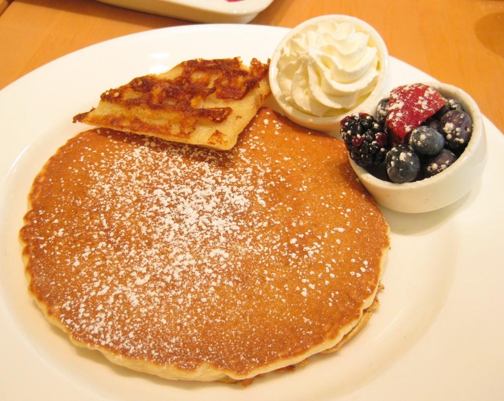 Pancake waffle with fresh berries