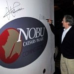 Robert De Niro autographs Nobu construction wall at Caesars Palace