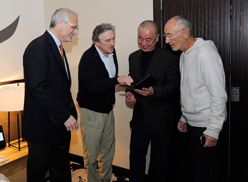 Caesars Palace President Gary Selesner, actor Robert De Niro, chef Nobu Matsuhisa and Meir Teper meet to discuss room designs for the world's first Nobu Hotel Restaurant and Lounge at Caesars Palace