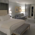 "The bedroom of The Grand Deluxe Suite by Nancy Corzine: The ""Blue Suite"" at The Peninsula Beverly Hills"