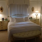"The bedroom of The Royal Patio Suite: The ""White Suite"" at The Peninsula Beverly Hills"
