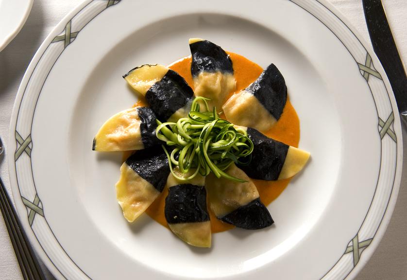 Seafood ravioli