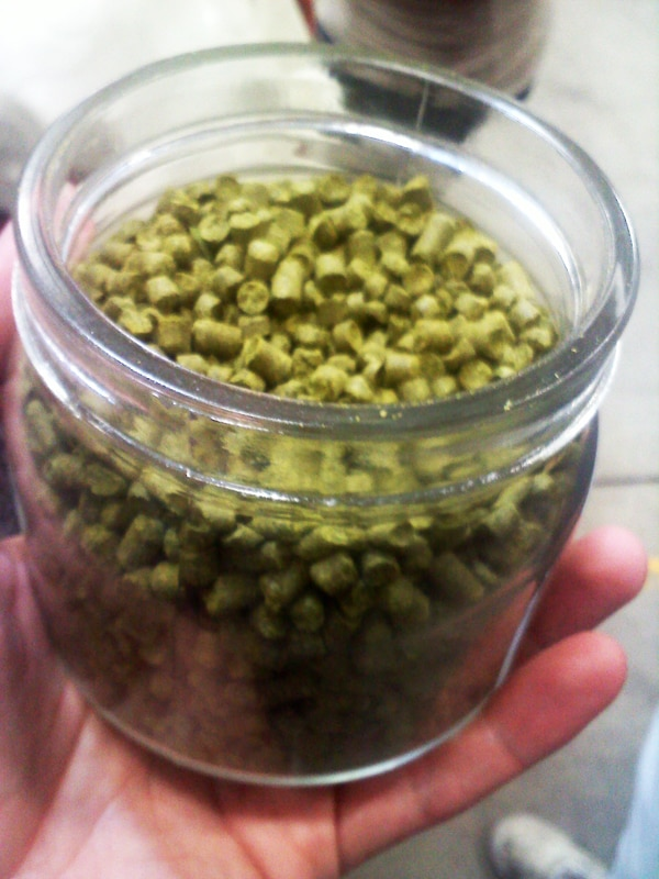 A jar full of hops