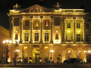 The renovated façade of Hôtel de Crillon at night