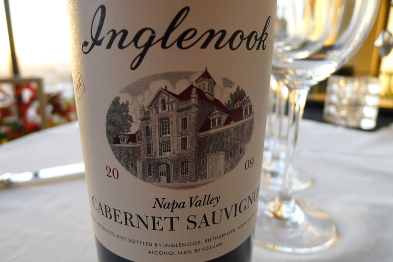 Front side of Inglenook 2009 CASK Cabernet Sauvignon, featuring 1941 label design