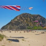 Flying kites in Morro Bay