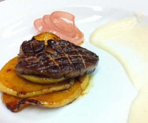 Seared foie gras, cinnamon caramel apple, red wine shallots and celery root purée