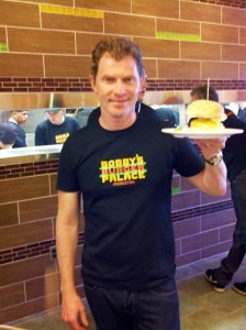 Chef Bobby Flay at the opening of the Princeton Bobby's Burger Palace