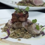 Rosemary and fennel marinated pork tenderloin, braised bacon, lentils and bagna cauda