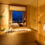 A guest bathroom at the Pan Pacific Hotel Seattle
