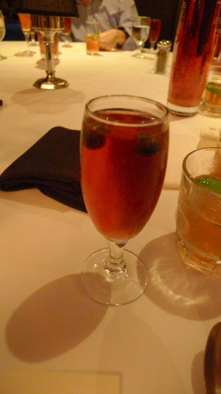 Prévu, Champagne, apricot juice, pomegranate/blueberry juice, apricot garnish