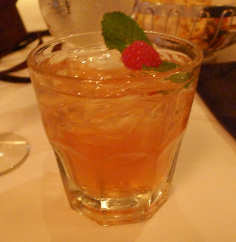 Prévu, raspberry gin, sparkling lemonade, mint and raspberry garnish