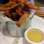 Sweet potato fries and horseradish mustard dip