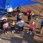 Assembling on the Santa Monica Pier for Trapeze 101