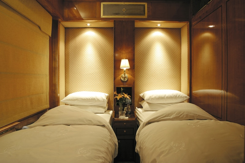 Deluxe twin bed accommodations on South Africa's The Blue Train