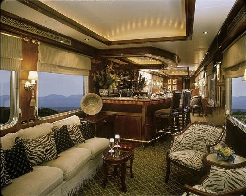 The lounge car on South Africa's The Blue Train