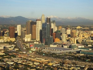 An aerial view of downtown Los Angeles