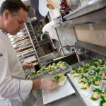 Chef Marco Marrama preparing seafood ceviche (shrimp, bay scallops, lime-marinated lobster, red onion cucumbers, dill and cilantro)