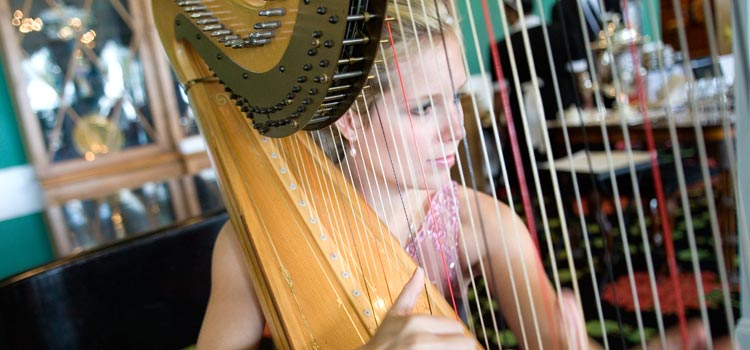 A harpist provides pleasant background music during afternoon tea
