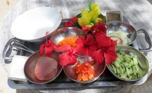The ingredients for the Tahitian raw fish dish