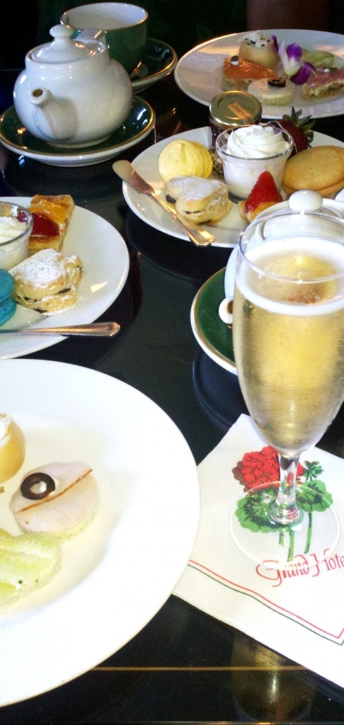 Champagne and snacks at the Grand Hotel