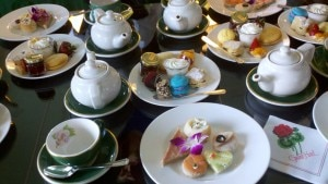 teatablefull 300x169 Sweet and savory snacks accompany tea service at the Grand Hotel
