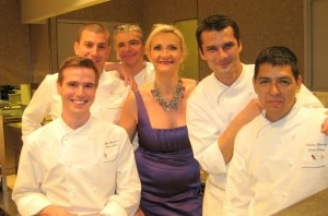 Chefs Sylvain Portay and Bruno Riou & their team with Sophie Gayot