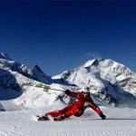 Skiing on the Diavolezza mountain in Switzerland