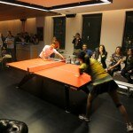 Erica Wu giving a ping pong demo