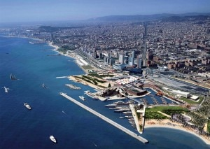barcelona coast 300x213 Aerial view of Barcelona and the Port Forum Marina