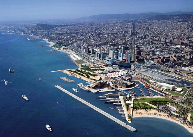 Aerial view of Barcelona and the Port Forum Marina