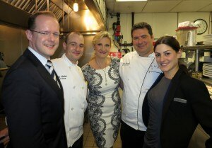 Hotel general Marcus Mueller, Chef de cuisine Jonathan Martorella, Executive chef Olivier Rousselle, Restaurant manager Chrissa Loukadakis with Sophie Gayot