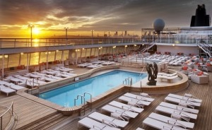 Crystal Symphony pool at sunset
