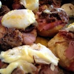Braised pork shoulder and smoked ham eggs Benedict