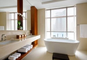 A guest bathroom at the JW Marriott Marquis Hotel Dubai