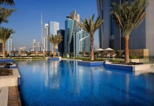 jw marriott marquis dubai outdoor pool 300x208 The outdoor pool at JW Marriott Marquis Hotel Dubai