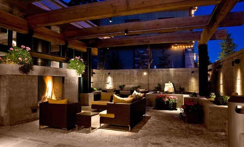An outdoor fireplace at The Sky Lodge