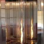 In-room cyclone fireplace at Shade Hotel in Manhattan Beach, CA